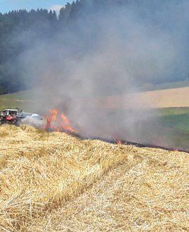 Achtung Flurbrandgefahr bei Erntearbeiten!
